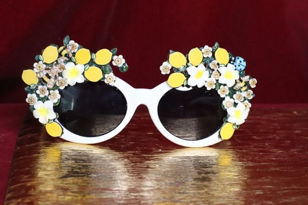 6635 Baroque Sicilian Lemon Fruit White Length Embellished Sunglasses