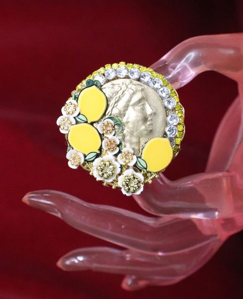 6636 Roman Coin Sicilian Lemon Cocktail Adjustable Ring