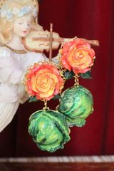 6637 Baroque Hand Painted Cabbage Studs Earrings
