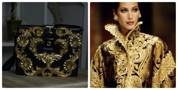 SOLD! 91 Designer Inspired Total Baroque Gold Flower Embellished Crossbody Purse