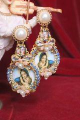 SOLD! 6655 Virgin Mary Cameo Blue Elegant Pearl Studs Earrings