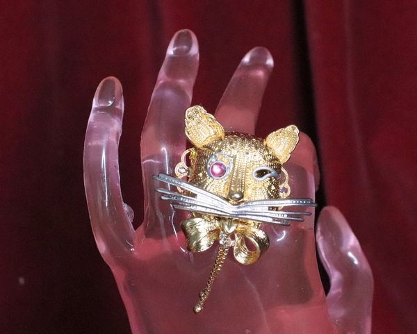 6656 Baroque Metal Gold Tone Cat Cocktail Adjustable Ring