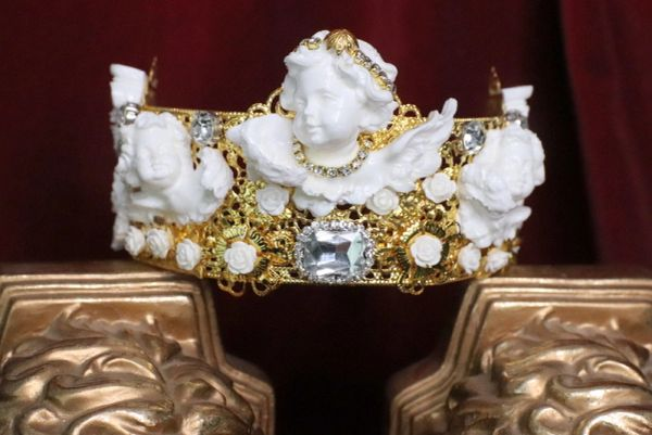 SOLD! 6658 Barocchi White Chubby Cherubs Clear Rhinestones Crown