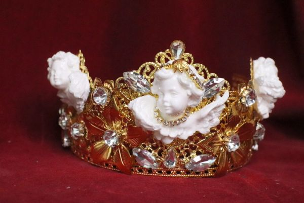 SOLD! 6659 Barocchi White Chubby Cherubs Clear Rhinestones Crown
