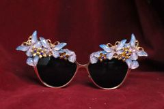 6661 Baroque Iridescent Butterfly Fancy Embellished Sunglasses