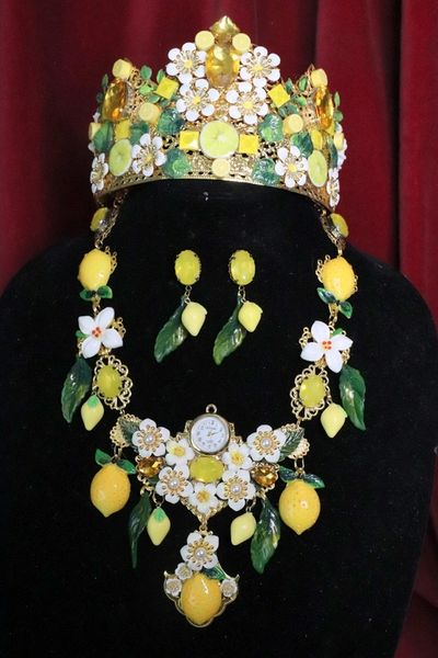6664 Set Of Baroque Clock Lemon Fruit Statement Necklace+ Earrings