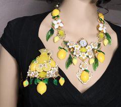 6665 Baroque Sisilian Lemon Fruit Vase Flower Blossom Massive Brooch