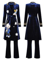 6671 Runway 2020 Velvet Blue Cartoon Cardigan + Pants Twinset