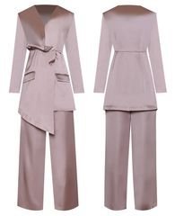 6672 Runway 2020 Tan Silky Touch Cardigan + Pants Twinset