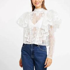 6675 Runway 2019 2 Colors Cut Out Embroidery Victorian Top Blouse