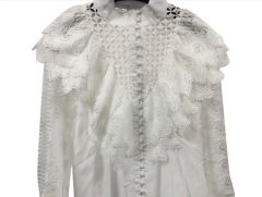 6676 Runway 2019 2 Colors Cut Out Embroidery Victorian Top Blouse