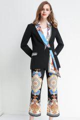 6677 Runway 2020 Folk Print Scarf Blazer+ Pants Twinset
