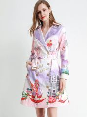 6678 Runway 2020 Cartoon Rooster Print Pastel Trench Coat