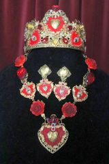 6684 Set Of Baroque Sacred Heart Red Roses Statement Necklace+ Earrings