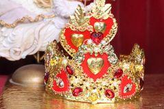 6685 Baroque Sacred Hearts Red Rhinestones Crown Headband