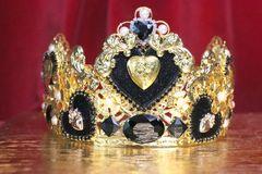 6688 Baroque Sacred Hearts Black Rhinestones Crown Headband