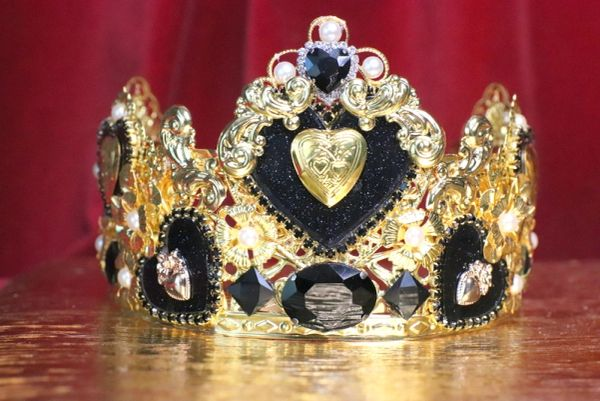 SOLD! 6688 Baroque Sacred Hearts Black Rhinestones Crown Headband