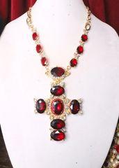 SOLD! 6693 Alta Moda Red Cross Crystal Stunning Huge Pendant Necklace