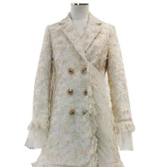 6695 Runway 2020 Tweed Coco Gold Thread Buttons Trench Coat