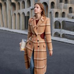 6698 Runway 2020 Plaid Wool Blend Cut Out Waist Unusual Coat