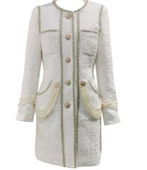 6699 Runway 2020 Tweed Coco Gold Thread Buttons Pearl Embellished Trench Coat