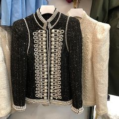 6700 High-End Runway 2020 2 Colors Tweed Coco Napoleon Pearl Embellished Blazer