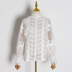 6702 Runway 2019 2 Colors Cut Out Embroidery Victorian Top Blouse