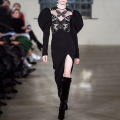 6703 Runway 2019 Broidery Butterfly Black Lady-like Dress