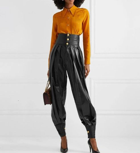 6704 2 Colors Trendy Designer Faux PU Leather High-Waist Pants