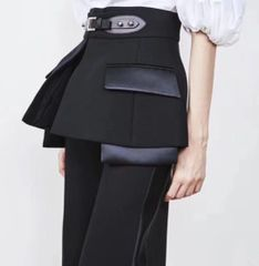 6705 Trendy Designer Peplum Pockets High-Waist Pants