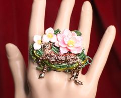 6708 Enamel Leopard Animal Flowers Cocktail Single Finger Adjustable Ring