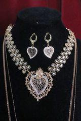 SOLD! 6711 Set Of Alta Moda Gold Tone Sacred Heart Pendant Necklace+ Earrings
