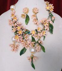 SOLD! 6713 Set Of Dangle Pale Pink Flowers Enamel Bee Necklace+ Earrings