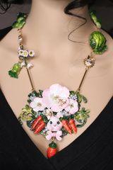 6717 Set Of Adorable Hand Painted Vivid Bunny Carrots Flower Massive Pendant Necklace+ Earrings