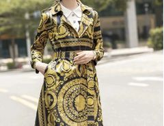 6611 Baroque Print Faux PU Wet Leather Look Trench Coat