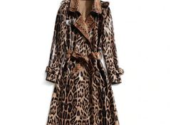 6552 Baroque Leopard Print Faux PU Wet Look Leather Trench Coat