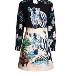 6720 Runway 2020 Zebra Animal Tropical Print Shirt+ Mini Skirt Twinset