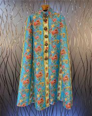 6722 Runway 2020 Baroque Floral Print Sunflower Buttons Cape Coat