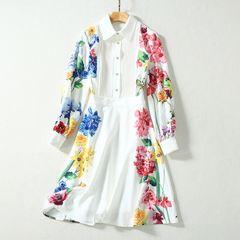 6726 Runway 2020 Floral Print White Shirt Top Mini Skater Dress