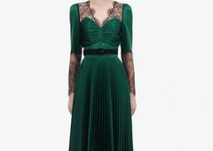 6730 High-End Runway Dark Green Lace Top Pleated Maxi Dress