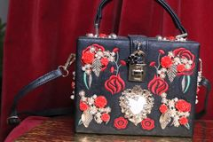 6316 Baroque Roses Embroidery Embellished Trunk Crossbody