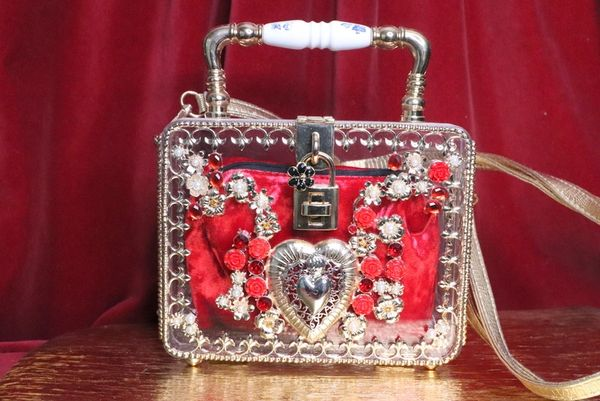 6283 Baroque Clear Trunk Heart Gold Embellished Crossbody