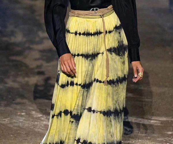 6733 3 Colors Runway 2020 Tie-Dye Pleated Midi Skirt