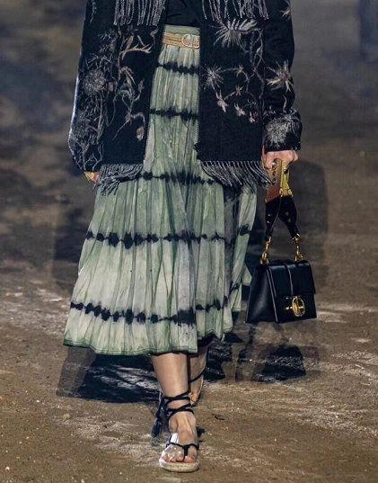 6734 Grey Runway 2020 100 Percent Cotton Tie-Dye Pleated Midi Skirt