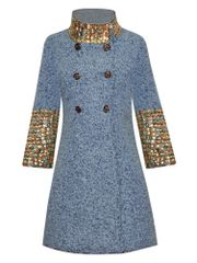 6735 Runway 2020 Embellished Festive Wool Blend Coat
