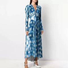 6737 Runway 2020 Velvet Star Print Blue Midi Dress