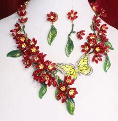 6738 Set Of Dangle Dark Red Flowers Enamel Butterfly Necklace+ Earrings