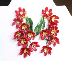 6739 Baroque Dangle Dark Red Flower Massive Studs Earrings