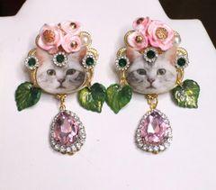SOLD! 6741 Adorable Cat Roses Pink Rhinestone Studs Earrings