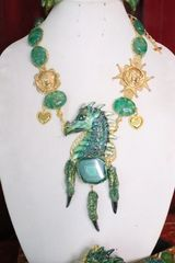 6743 Medieval Genuine Agate Dragon Veins Agate Dragon Necklace
